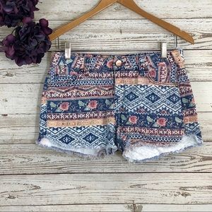 Tinsel Jean Shorts Cutoffs High Waist Floral Aztec